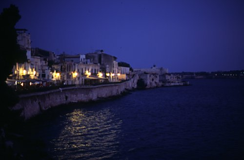 Harbour of Syracuse in the evening
