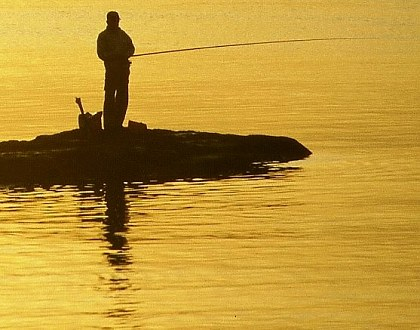 Angler in der Abendsonne, Kamakura, Japan