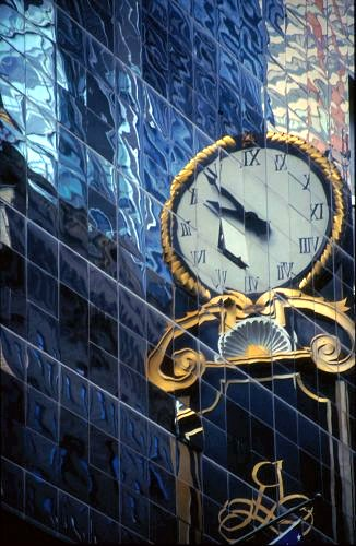 Reflection of a Clock, New York, America