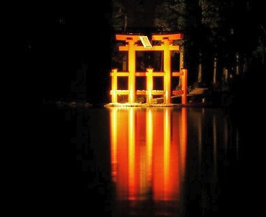 Reflection of  a Torii in  Ashino-ko lake, Fuji Hakone, Japan. Photo: Laurenz Bobke