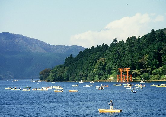 Japan: red Torii in Fuji Hakone